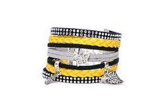 Bracelet Manchette Large noir jaune et gris en suédine daim et simili cuir