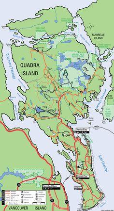 Map of Quadra Island hiking trails Canada Vancouver, Victoria Vancouver Island, Vancouver Travel, Go Spot, Discovery Island, British Columbia, Columbia Travel, Hiking Trails, Kayaking