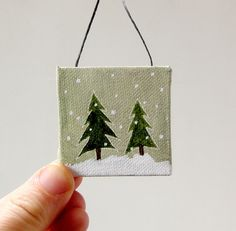 tiny forest / christmas ornament / tiny original painting on canvas.
