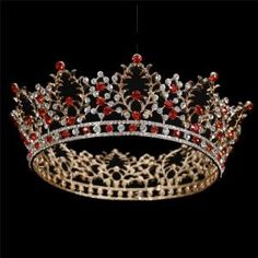 FUMUD 2 Inch Height Muliticolor Gold Plated &Silver Plated Ruby Crystal Leaf Tiara Crown Wedding Bride Hair Accessories