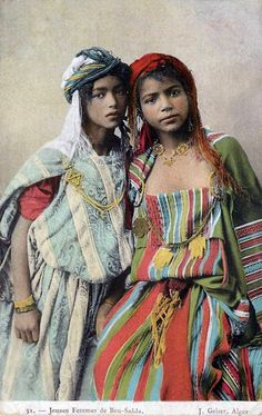"Africa | ""Jeunes Femmes de Bou Saâda"". Algeria || Vintage postcard; publisher J. Geiser, Alger. No. 31."