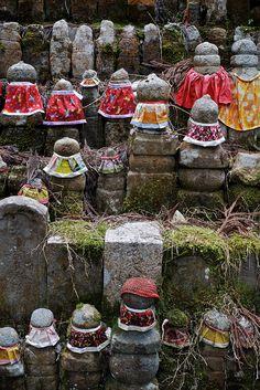 Jizo Bosatsu statue in Okuno-in cemetery -  Koya San, Japan