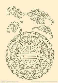 中国纹样 蝙蝠大图 点击还原