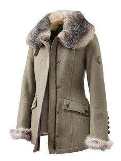 """""""Barbette"""" wool herringbone coat with fox collar and cuffs by Kleider Manufaktur Habsburg, Austria"""