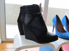 Black Leather Wedge Sneakers