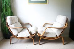 Mid Century Bentwood Lounge Chairs by Charlton-England Attributed to Knoll, Danish Modern Eames Era