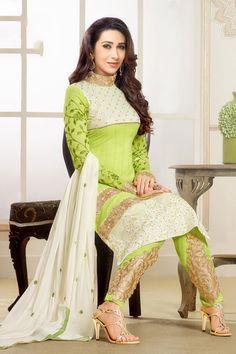 Krishma Kapoor in attractive green and white anarkali salwar suit