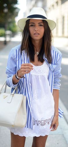 Love the detail of this white dress with the stripped shirt. Perfection.