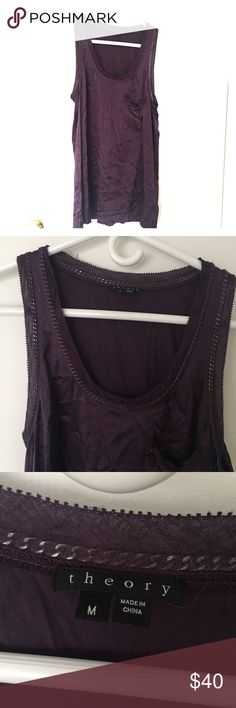 Women's Theory Silk Dark Purple Chain Tank Size M Strapless dark purple Theory strapless top with left breast pocket and gun metal chain detailing around neck and arms. A little wrinkled but no stains, tears, or defects. Kept in a clean, dry, smoke free home. Shirt is size M, fabric is 95% silk / 5% spandex and is dry clean only. Theory Tops Tank Tops