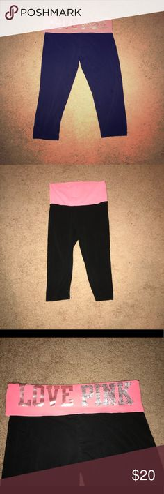 VS CROPPED LEGGINGS These are in good condition! A little bit of fading but not noticeable! PINK Victoria's Secret Pants Leggings