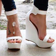 Do Me Heels #platformhighheelswhite #highheelscrazy #sandalsheelswedge