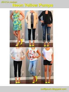 Outfit Posts: 2012 in Review- Neon Yellow Pumps (Brightly colored shoes- either matched to element in outfit, or paired with neutral outfit. Sometimes with another matching accessory.)