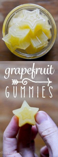Full of vitamin C and probiotic goodness, these little Grapefruit Gummies are a healthy choice for snack time! {use agar agar and agave to make vegan} Gelatin Recipes, Candy Recipes, Real Food Recipes, Snack Recipes, Dessert Recipes, Jelly Recipes, Vitamin C, Multi Vitamin, Best Gluten Free Recipes