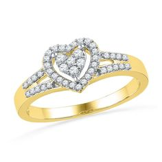 Zales 1/10 CT. T.w. Diamond Heart Knot Ring in Sterling Silver and 14K Gold 6SkzID
