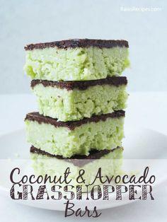 Coconut & Avocado Grasshopper Bars | grain-free, dairy-free, refined sugar-free | www.RaiasRecipes.com
