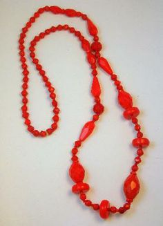 Art Deco Czech Glass Lipstick Red Long Bead Necklace #artdeco #redglass #beadnecklace $89.00