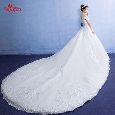 대형 육성 2017 봄 새로운 한국어 Noritsune 신부 큰 후행 웨딩 드레스 워드 어깨 레이스 웨딩 드레스