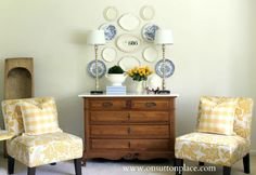 Personalized Plate Wall - I like the mix of blue patterned plates with the white