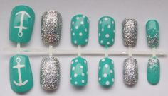 Teal and Silver Glitter Nautical Fake Nails - False, Artificial, Acrylic, Press-On on Etsy, $12.00