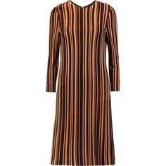 Just Cavalli Striped metallic-knit mini dress ($190) ❤ liked on Polyvore featuring dresses, light brown, metallic knit dress, stripe dress, knit dress, just cavalli and metallic mini dress
