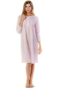 7c0cd5a81c Casual Nights Women s Long Sleeve Cotton Blend Nightgown - Pointelle Pink -  X-Large