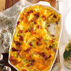 Twice-Baked Cheddar Potato Casserole Recipe -Bacon, cheddar and sour cream turn ordinary potatoes into an extraordinary twice baked potato casserole. It's one of our family's beloved standards for the holidays. Twice Baked Potatoes Casserole, Potatoe Casserole Recipes, Potato Recipes, Potato Ideas, Cauliflower Casserole, Pasta Casserole, Casserole Dishes, Church Potluck Recipes, Potluck Side Dishes