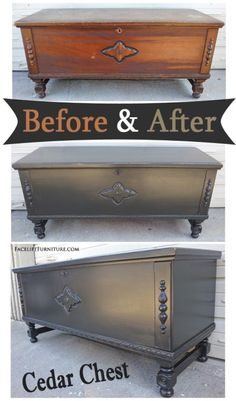 Distressed Black Cedar Chest – Before & After From Facelift Furniture