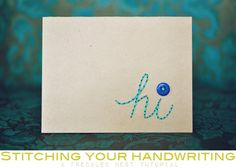 Stitched handwriting card