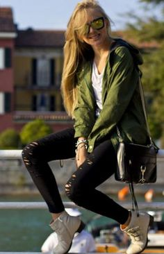 Great jacket for fall! Green Polka Dot Drawstring Cotton Blend Trench Coat