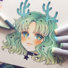 Learn To Draw Manga - Drawing On Demand Marker Kunst, Copic Marker Art, Copic Art, Copic Drawings, Kawaii Drawings, Cute Drawings, Kawaii Anime, Kawaii Art, Art Anime