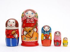 5 Authentic Russian Nesting dolls with balalaika by artmatryoshka