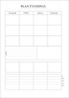 Plan tygodnia do pobrania Calendar Organization, Planner Pages, Free Prints, Hacks Diy, Back To School, Life Hacks, Diy And Crafts, Bullet Journal, Notes