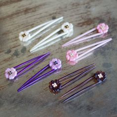 Vintage Flowers Hair Pins: Available in Ivory, Pink, Purple, and Tortoise Shell