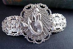 Mermaid barrette in ox sterling silver plated brass by UpBrass, $32.00