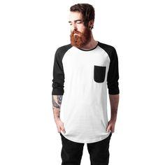 LONG RAGLAN 3/4 SLEEVE POCKET T-SHIRT #tshirt #fashion #black #white #urban #streetwear #style http://www.rudestylz.de/long-raglan-pocket-tee.htm