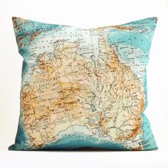 """Image of Vintage AUSTRALIA #2 18"""" x18"""" Map Pillow Cover"""