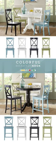 Designing your perfect breakfast nook? With two table heights and plenty of colors to choose from, Rooms To Go has the right table to complement your kitchen or dining area. Round Dining Room Sets, Dining Room Table, Dining Area, Perfect Breakfast, Breakfast Nook, Florida Home, Home Kitchens, Kitchen Decor, Sweet Home