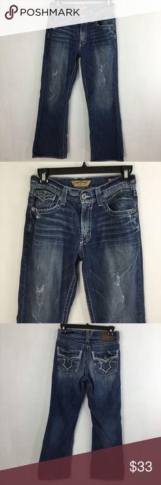 926663d829f BIG STAR Pioneer Mens Boot Cut Distressed Jeans BIG STAR Pioneer Boot Cut  Distressed Blue Jeans