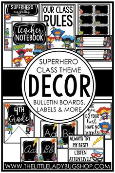 Get ready for back to school with the Superhero decor theme! This editable set is fun, unique, and has everything you need to decorate your classroom with a cohesive look. The perfect DIY bundle for any elementary classroom, including posters, name plates, alphabet posters, teacher notebook, organization labels, bulletin board decor, and more! #thelittleladybugshop