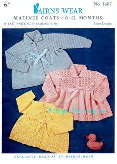 Baby 3ply Matinee Jackets 3 styles 19 20ins Bairnswear