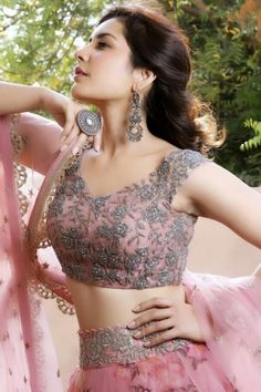 Beautiful Indian Girl Rashi Khanna In Pink Lehenga Choli Indian Wedding Outfits, Bridal Outfits, Indian Outfits, Bridal Dresses, Indian Attire, Indian Weddings, Baby Outfits, Trendy Outfits, Indian Designer Outfits