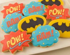 Super Hero Cookies, Pow, Bam, Batman  -  36 Decorated Sugar Cookies