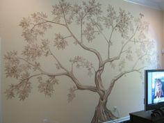 tree mural - trunk & leaves detail