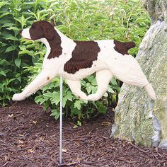 2 Coat Styles-Brittany (Dog in Gait) Garden Stake. Home, Yard & Garden Decor Products & Gifts.