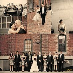 vintage wedding photography at the historic distillery district Toronto brick walls exterior