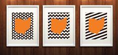 Cleveland, Ohio State Set of Three Giclée Prints - 8x10 -  Brown and Orange NFL Print
