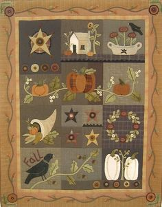 Primitive Folk Art Wool Applique Quilt Pattern Series: AUTUMN WALL QUILT -- 58 inches x 72inches via Etsy