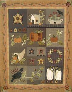 Primitive Folk Art Wool Applique Quilt Pattern by PrimFolkArtShop