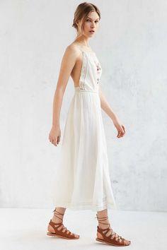 Kimchi Blue Needlepoint Apron Ivory Midi Dress