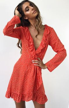 #spring #outfits Red Dotted Karina Dress
